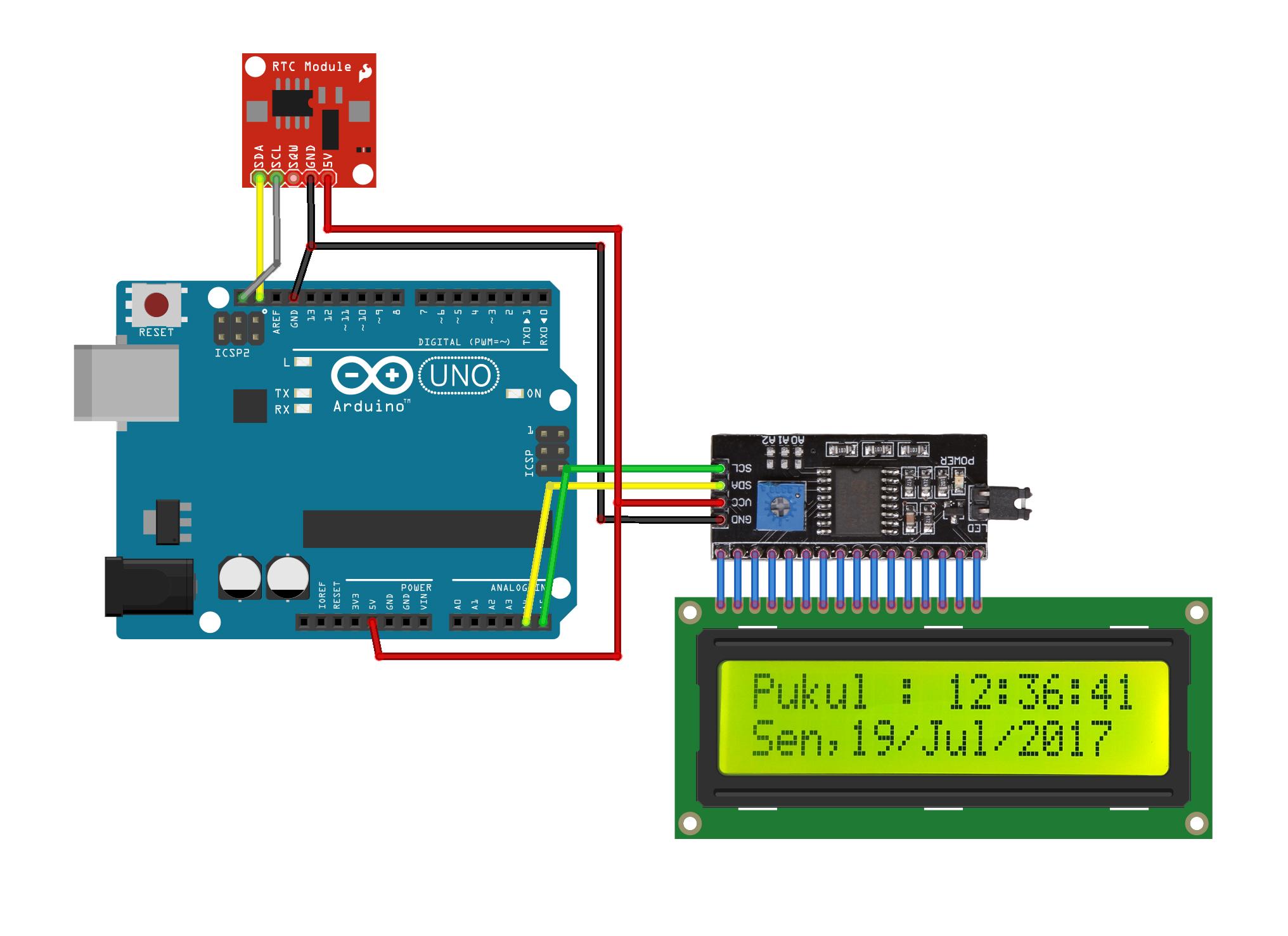 Membuat jam sederhana menggunakan i c lcd dan rtc ds